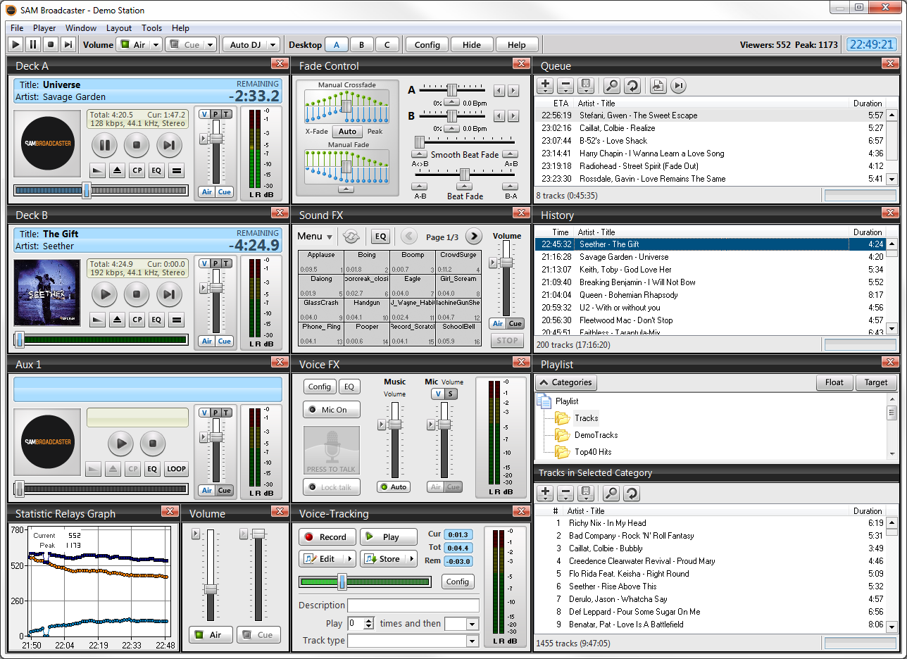 Click to view SAM Broadcaster 4.9.0 screenshot
